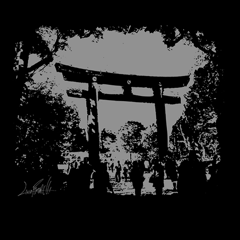 Shadow Torii by Livio Ramondelli on a Maction Planet Tokyo T-shirt