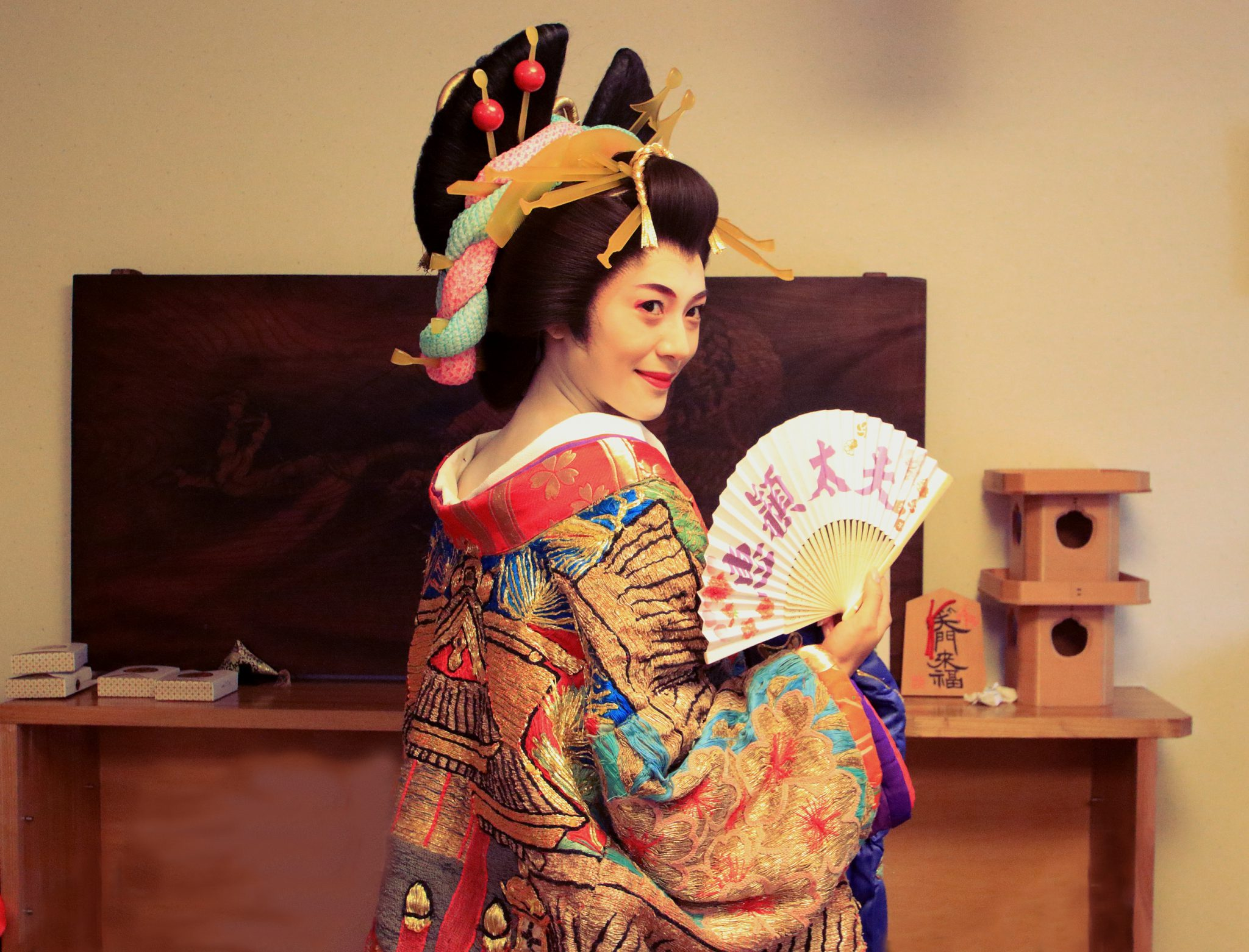 Rachel Leng preparing for the Shingawa Shukuba Matsuri, watched on a Backstreets of Tokyo Tour