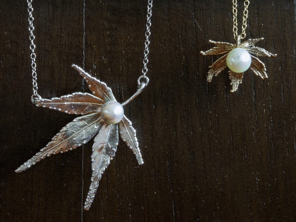 Japanese Maple and Akoya Pearl Pendants from ROC