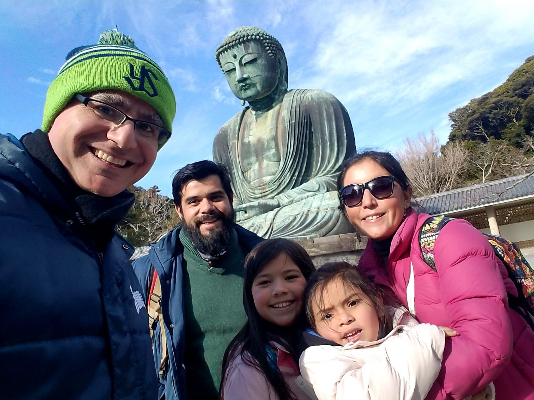 Giant Buddha with family from Chile on a Maction Tokyo Private Tour