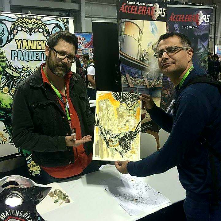 Yanick Paquette delivers his 'Batmen of tokyo' commission to Mac, Founder of Maction Planet