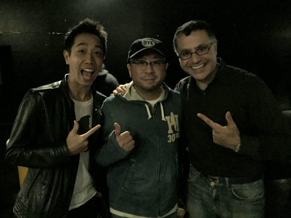 Tatsuo Sunaga with Mac and Royce Leong, Maction Planet's Resident DJ