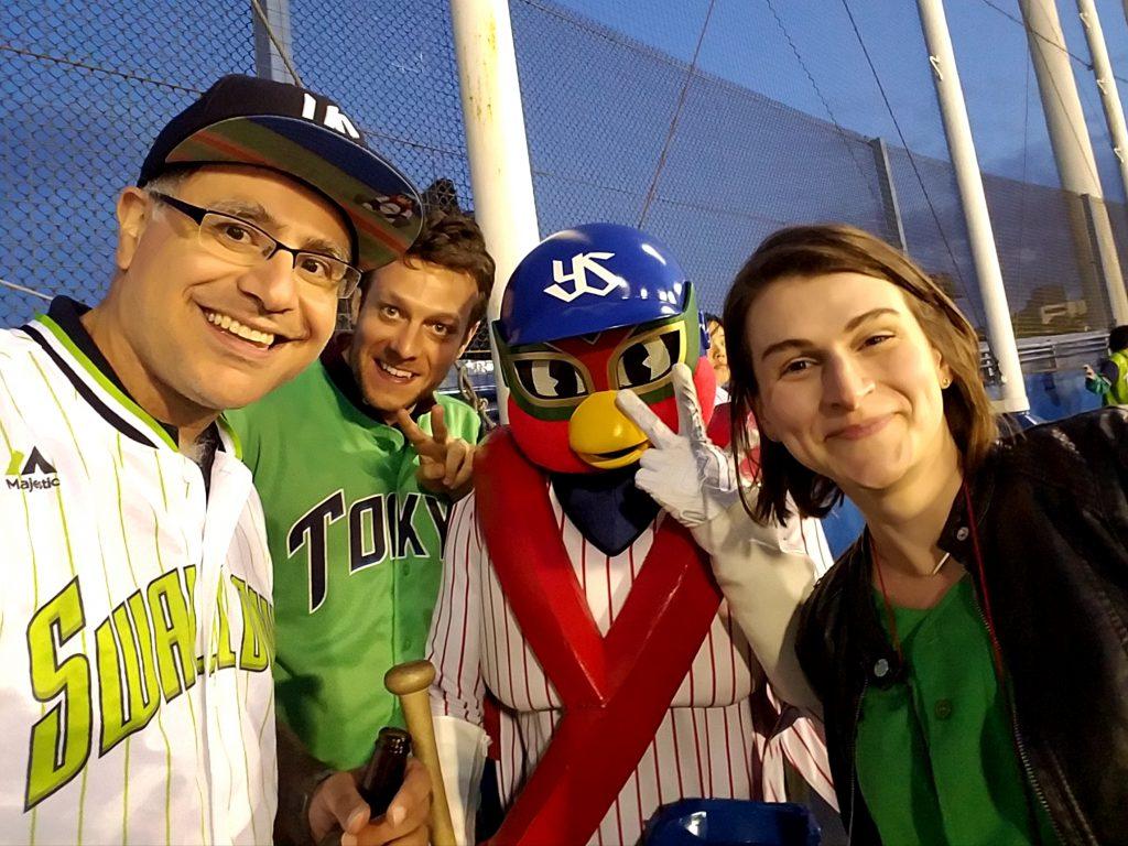 Torukuya with Mac and guests on a Maction Planet Tokyo Baseball Tour at Meiji Jingu Stadium