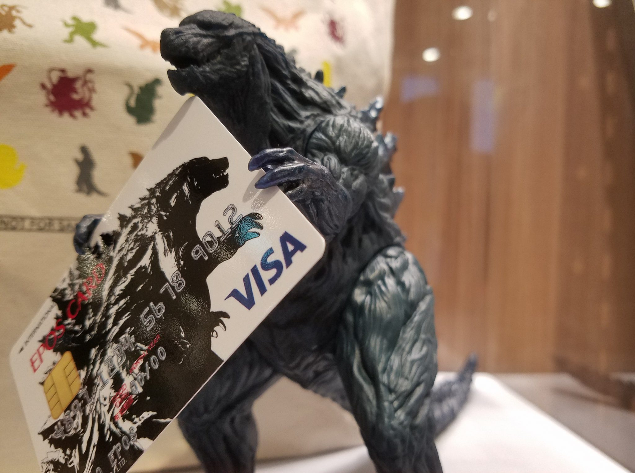 Godzilla with credit card in MODI, Shibuya seen on a Maction Planet Tokyo Private Tour