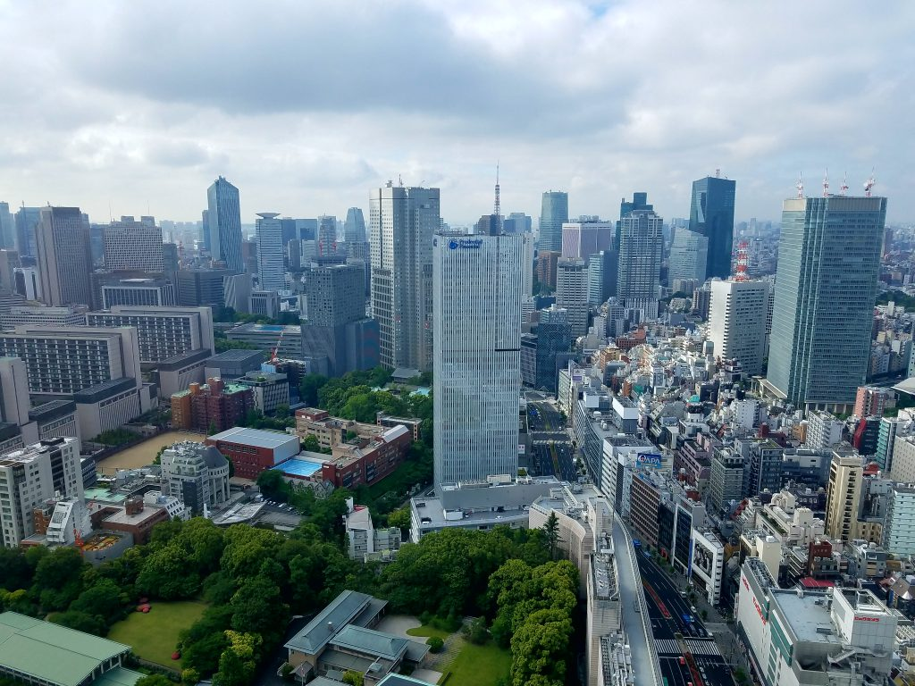 View from lobby of Prince Gallery Tokyo Kioicho as Mac picks up guests for a Tokyo Private Tour!