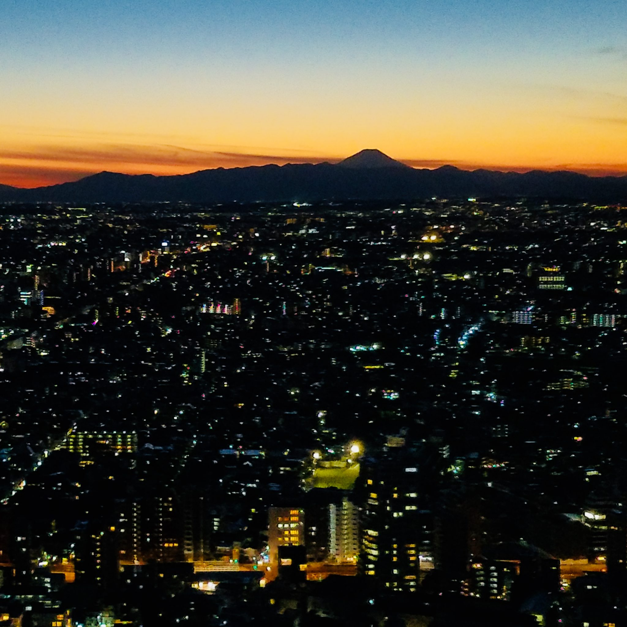Mt Fuji sunset and Tokyo lights seen on a Maction Planet Tokyo Private Tour