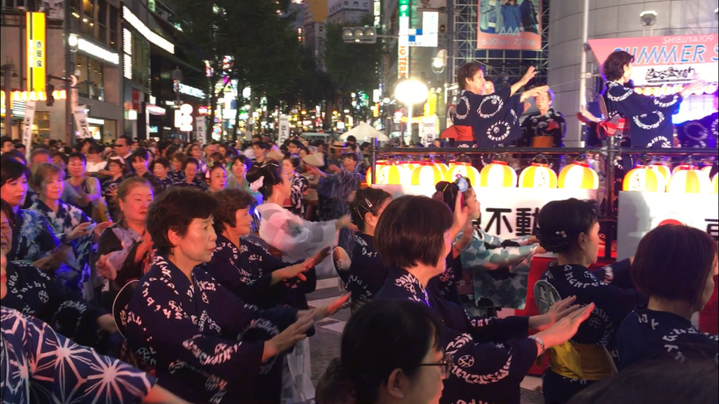 2018 Shibuya Bon Odori with guests on Tokyo Private Tour dancing