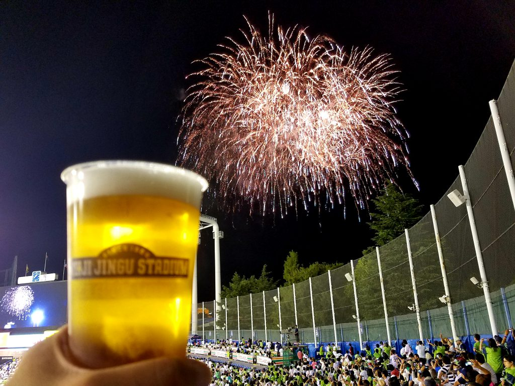 Meiji Jingu Fireworks and Beer seen on a Maction Planet Tokyo Baseball Tour