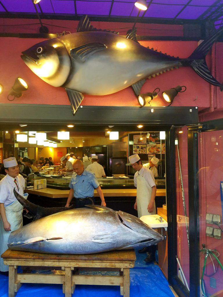 350kg tuna at Tsukiji Outer Market outside Sushizanmai