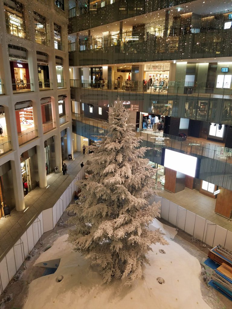 White Kitte White Christmas Tree at Kitte in Tokyo