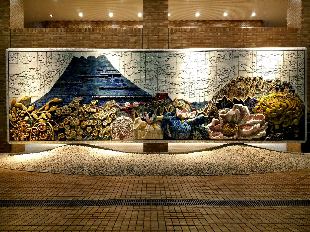 "Ceramic Relief ""Four Seasons in Edo"" / Original Painter : Tamako Kataoka / West Entrance Outer Area, Sunshine City / Installed on November, 1978"