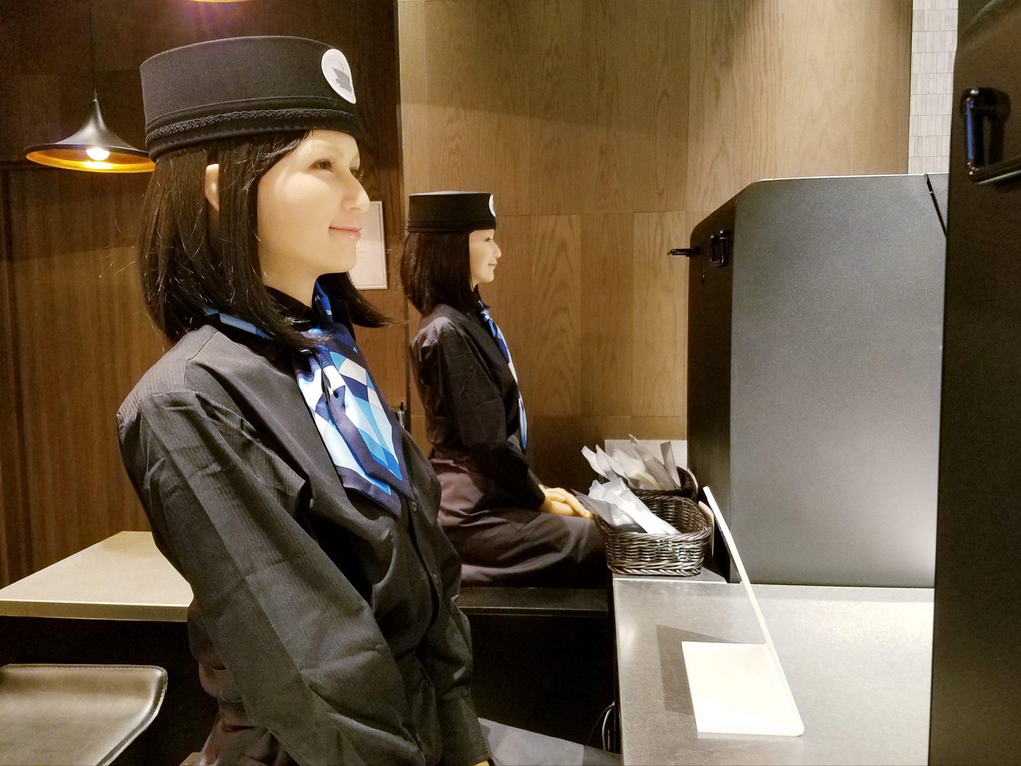 Henn-na Hotel Ginza receptionists