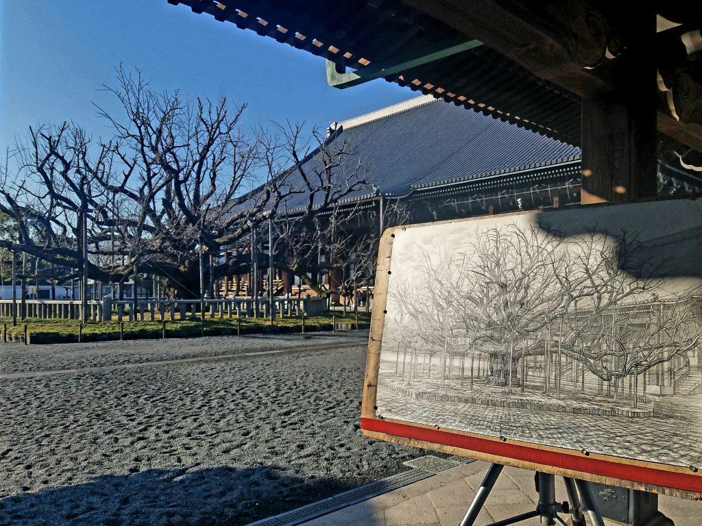 Tree-drawing at Nishi Honganji in Kyoto