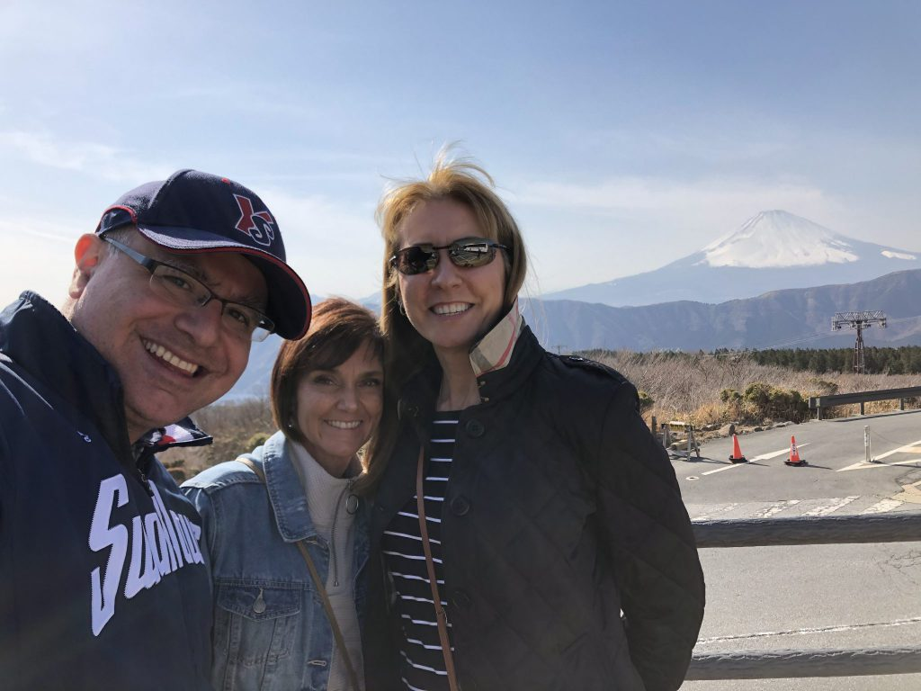 Full Face of Fuji: Mac, Founder and Lead Guide of Maction Planet with guests on their private Hakone tour