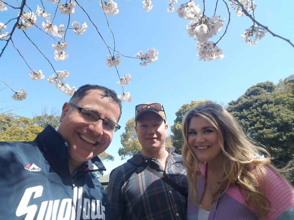 Mac with Missy Cherry and Jessi under the Sakura in Tokyo