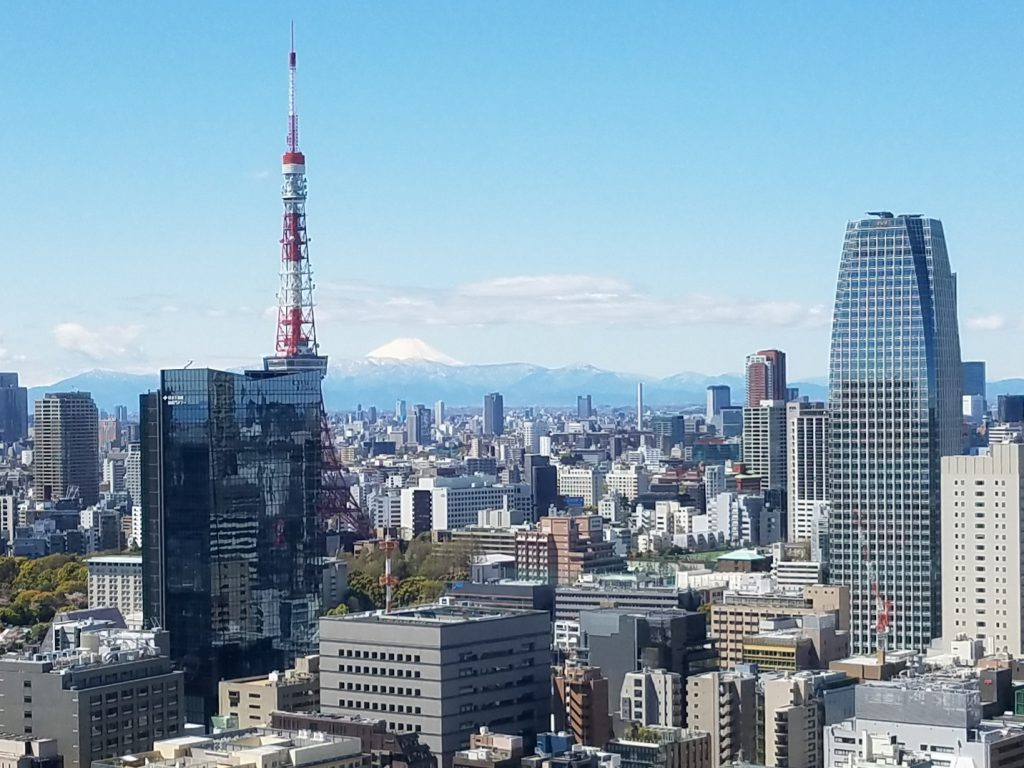 Mount Fuji on 11 April 2019 from windows of Park Hotel Tokyo