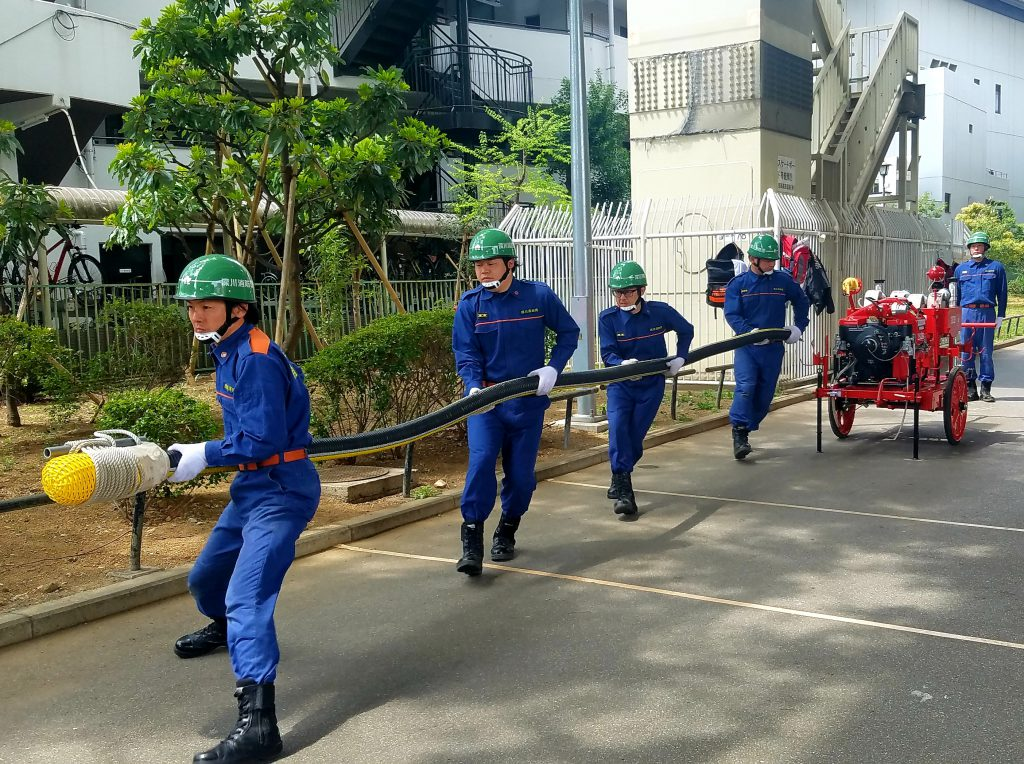 Firefighters in Koto-ku, Tokyo on a training session