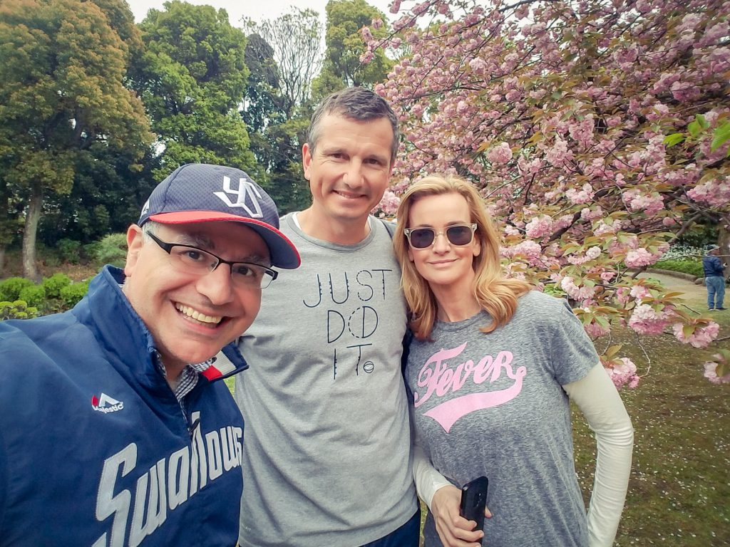 Richard Krajicek, 1996 Wimbledon champion and Daphne Deckers, model and writer, with Mac, Founder and Lead Guide of Maction Planet Tokyo Private Tours