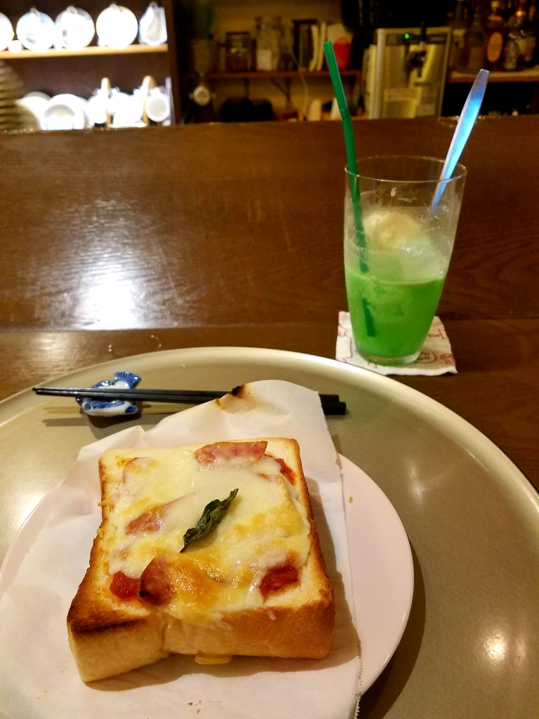 Pizza Toast and Cream Soda from 0460 Cafe in Sengokuhara