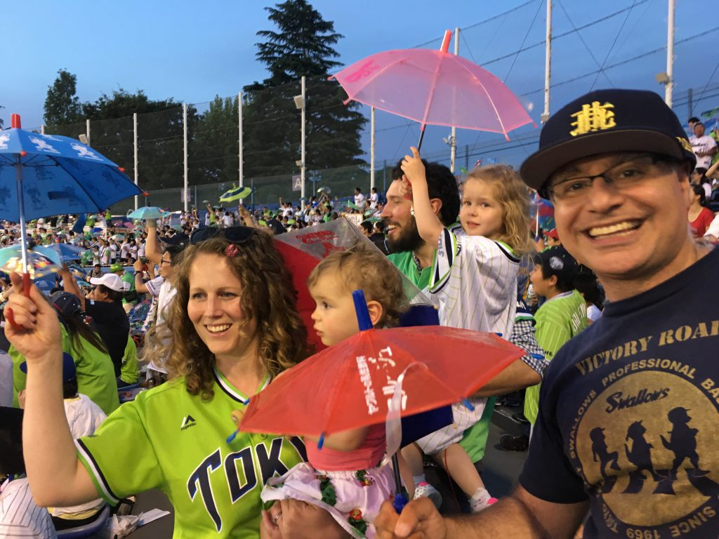 Rowland family enjoying Tokyo Yakult Swallows Baseball on a Tokyo Baseball Tour with Maction Planet