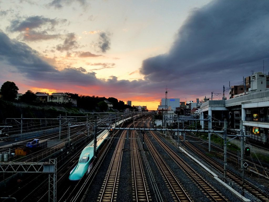 Sunset over the Shinkansen on Monday 17 June 2019