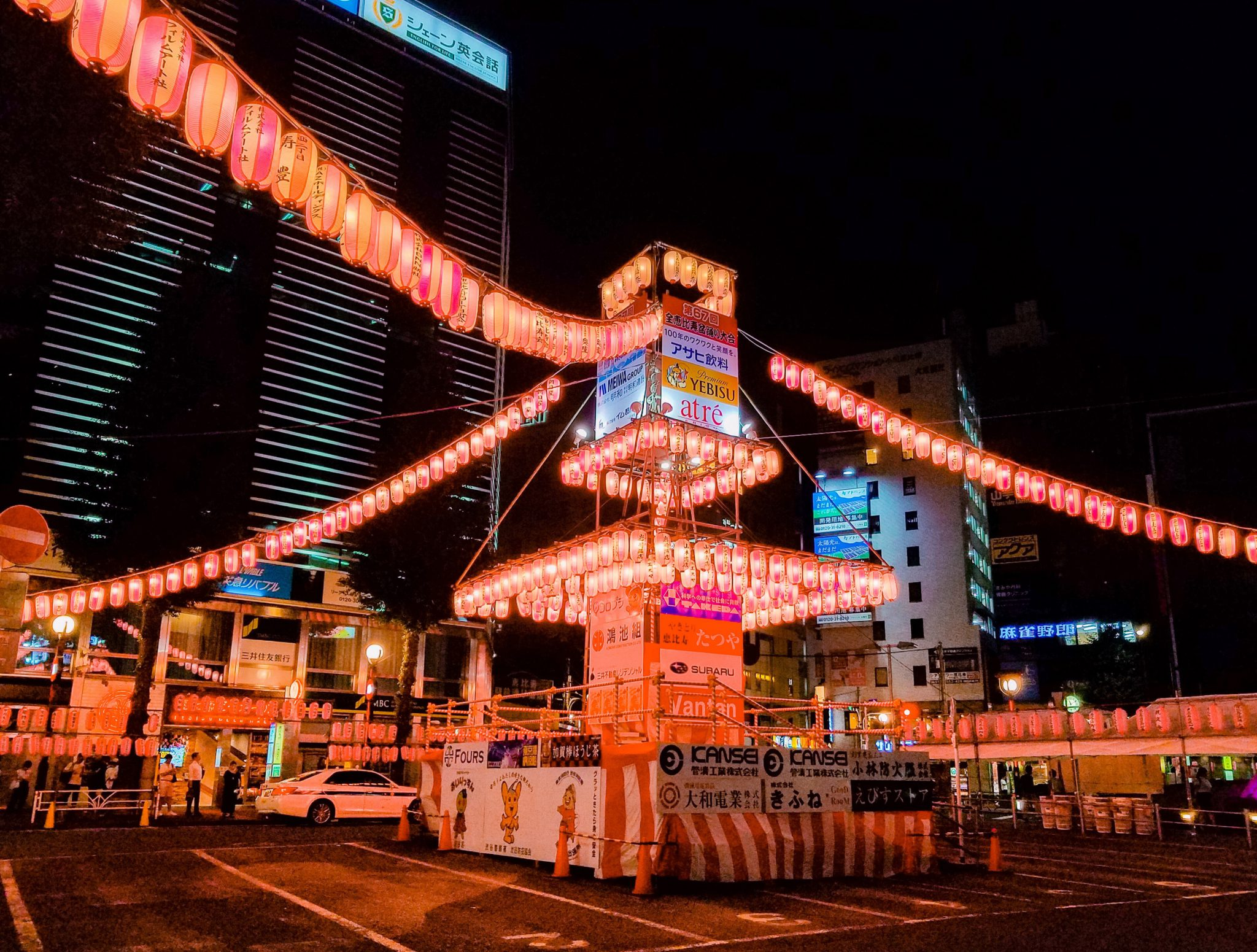 Ebisu Bon Odori 2019 Yagura seen on a Maction Planet Tokyo Private Tour