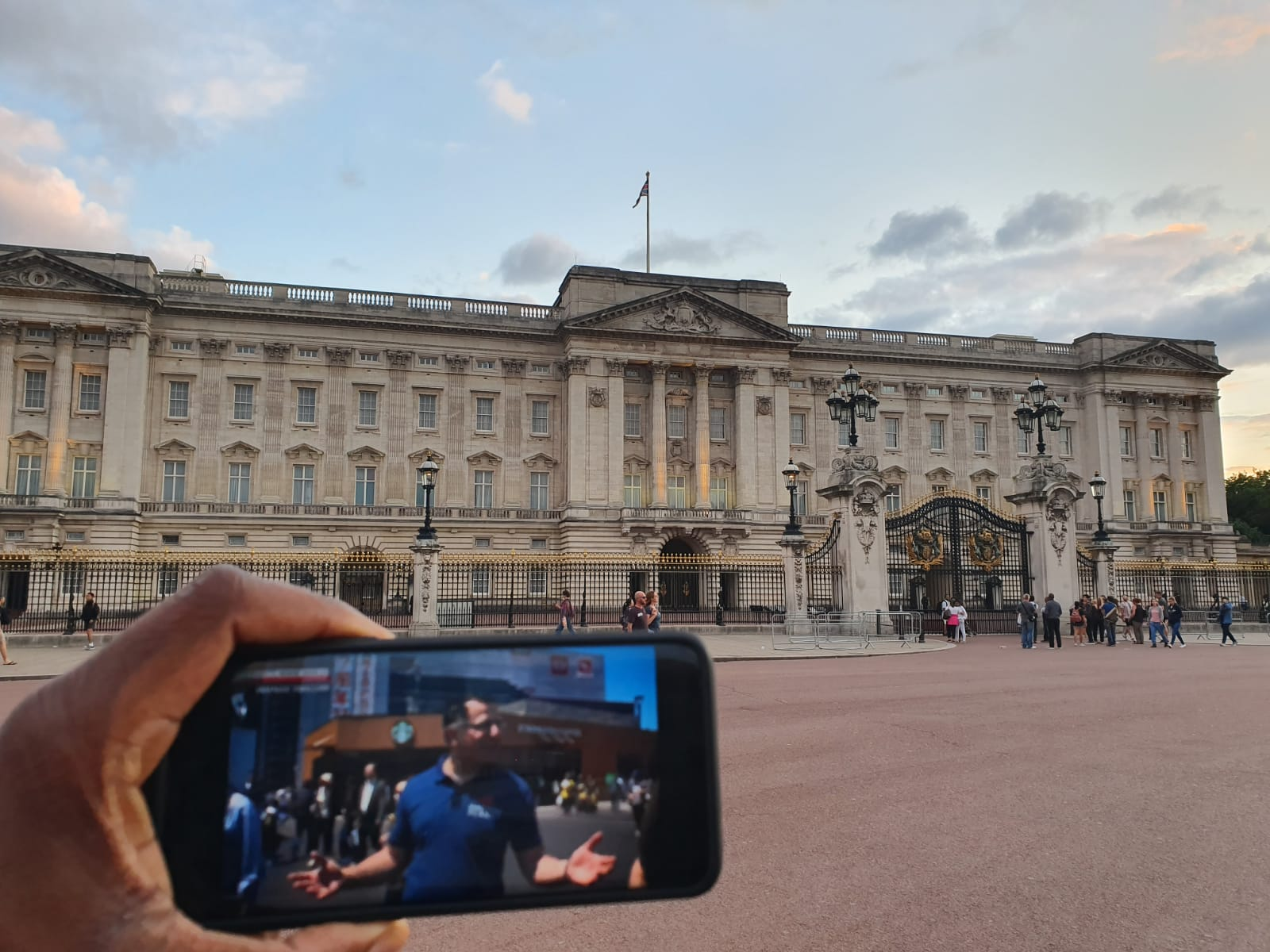 Daryl Wright watching Triangle Thrillers outside Buckingham Palace, London