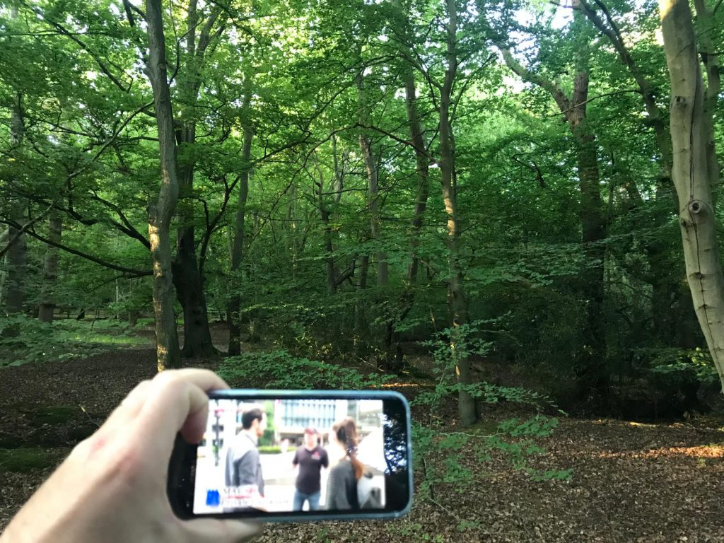 Mike watching NHK's Triangle Thrillers in Epping Forest, Essex, UK
