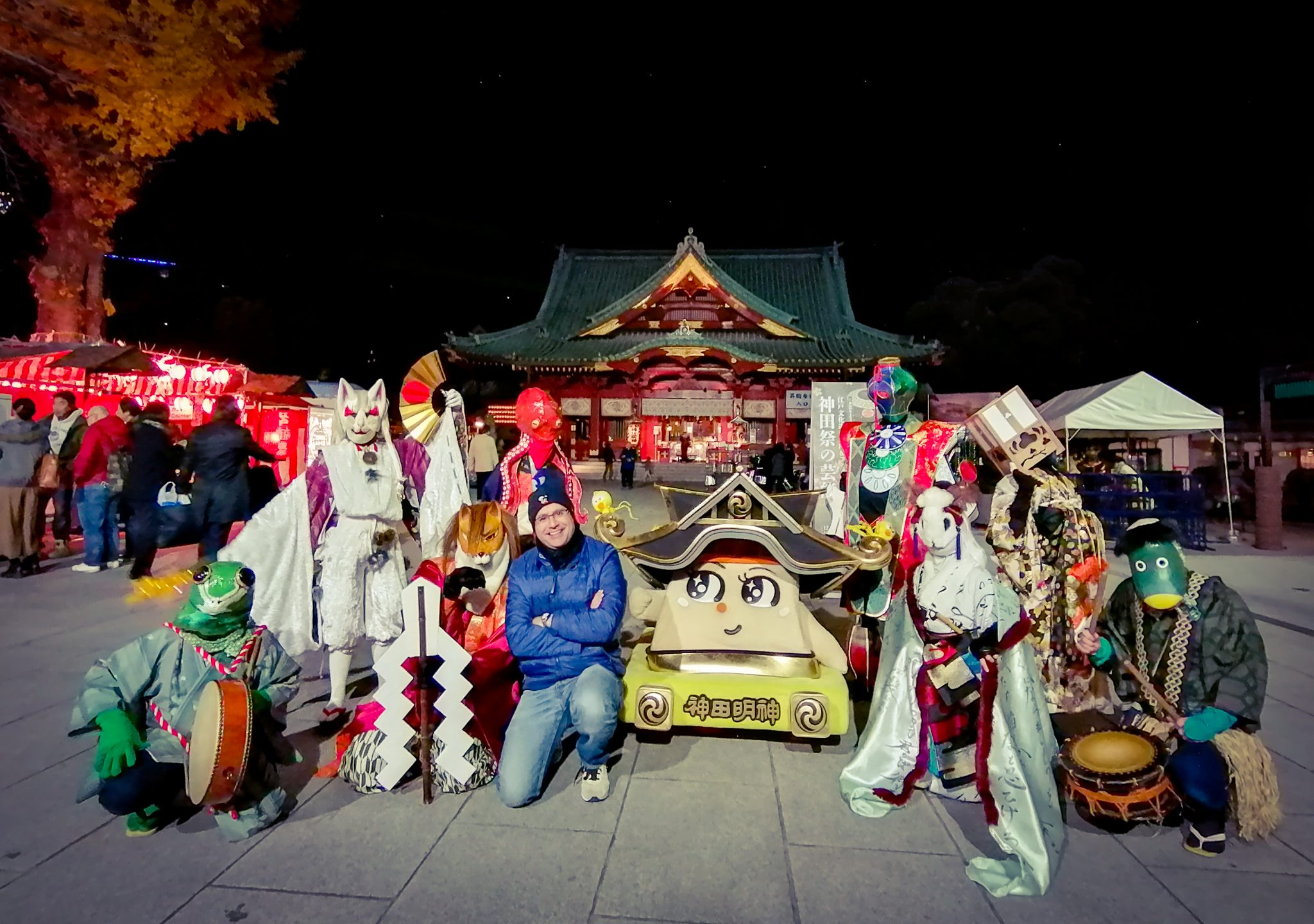 Mac, Founder and Lead Guide of Maction Planet, and mascots, ghosts at Kanda Myojin Edo Night Market