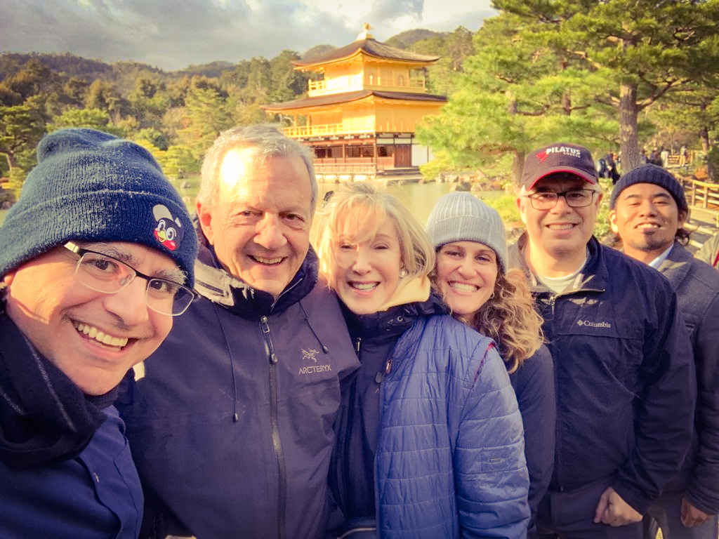 Mac, Founder and Lead Guide of Maction Planet, with the Cohn and Frank families, and Kosuke, on a Maction Planet Kyoto Day trip