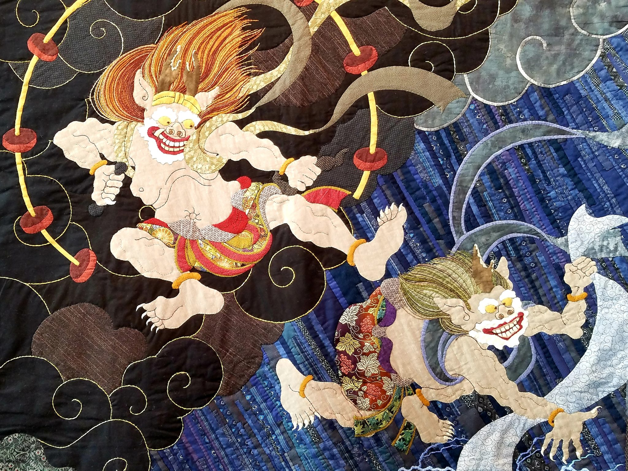 'Fujin・Raijin - Wing God and Thunder God' by Yoko Sekita from the 19th Tokyo International Great Quilt Festival