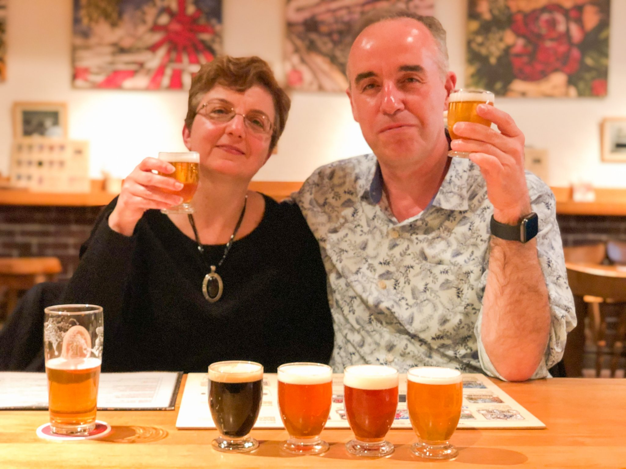 Vel and Mariana cheersing at Baird Beer Nakameguro on a Maction Planet Tokyo Craft Beer Tour