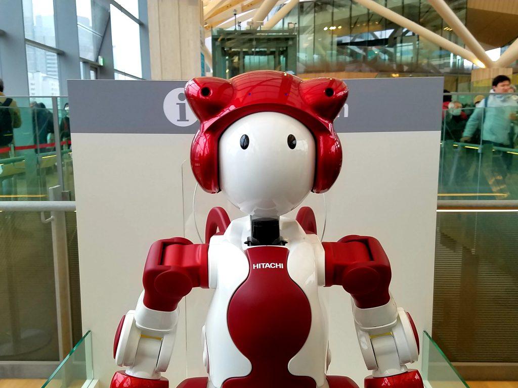 EMIEW3 Hitachi Robot at Takanawa Gateway Station in Tokyo, Japan