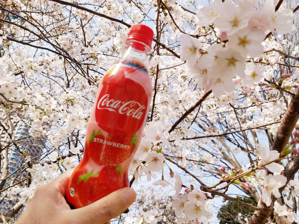 Coca-Cola Strawberry, only available in Japan, and Cherry Blossoms Sakura during Hanami 2020