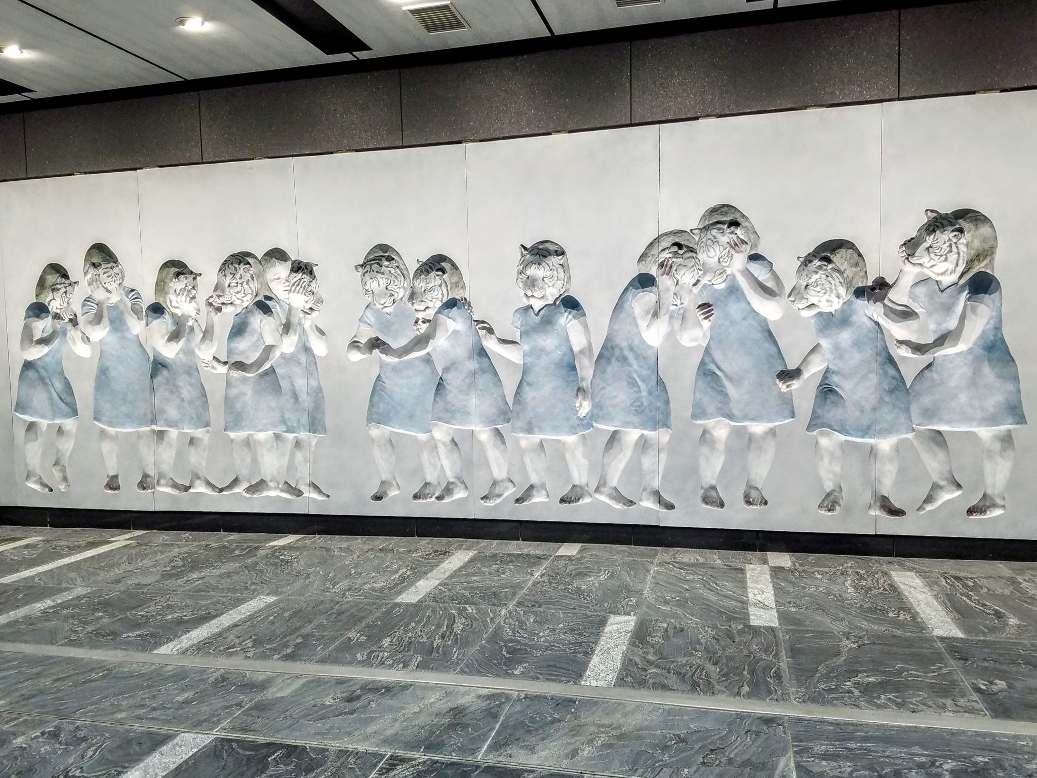 Toranomon Station Mural 'The White Tigers are watching' by Michiko Nakatani