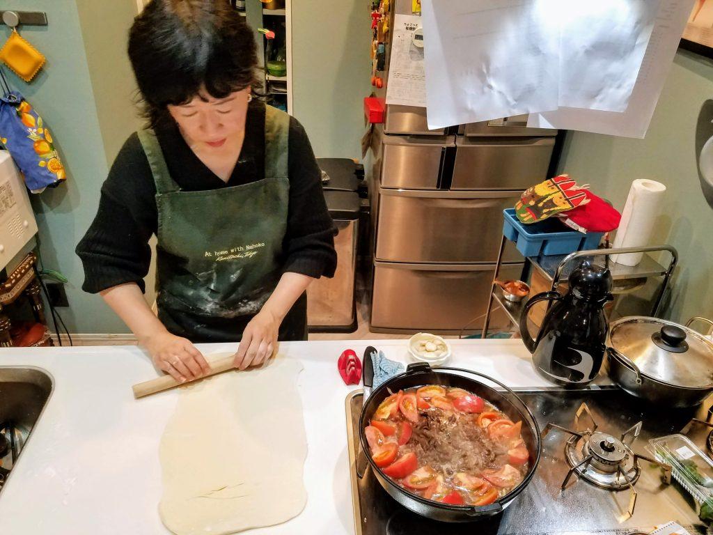 Chef Nahoko preparing our Sukiyaki Udon cooking class