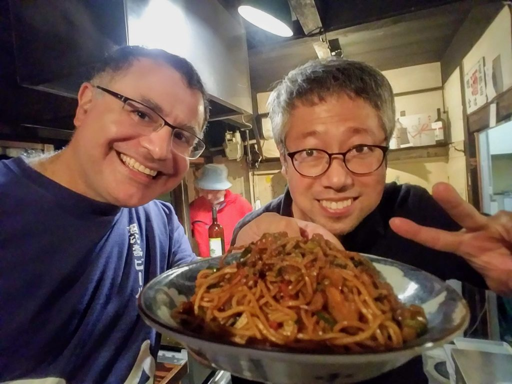 Mac and Maeda-san in Kyoto pop-up restaurant