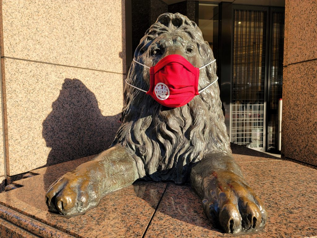 Mitsukoshi Ginza Lion wearing a mask to protect from COVID-19