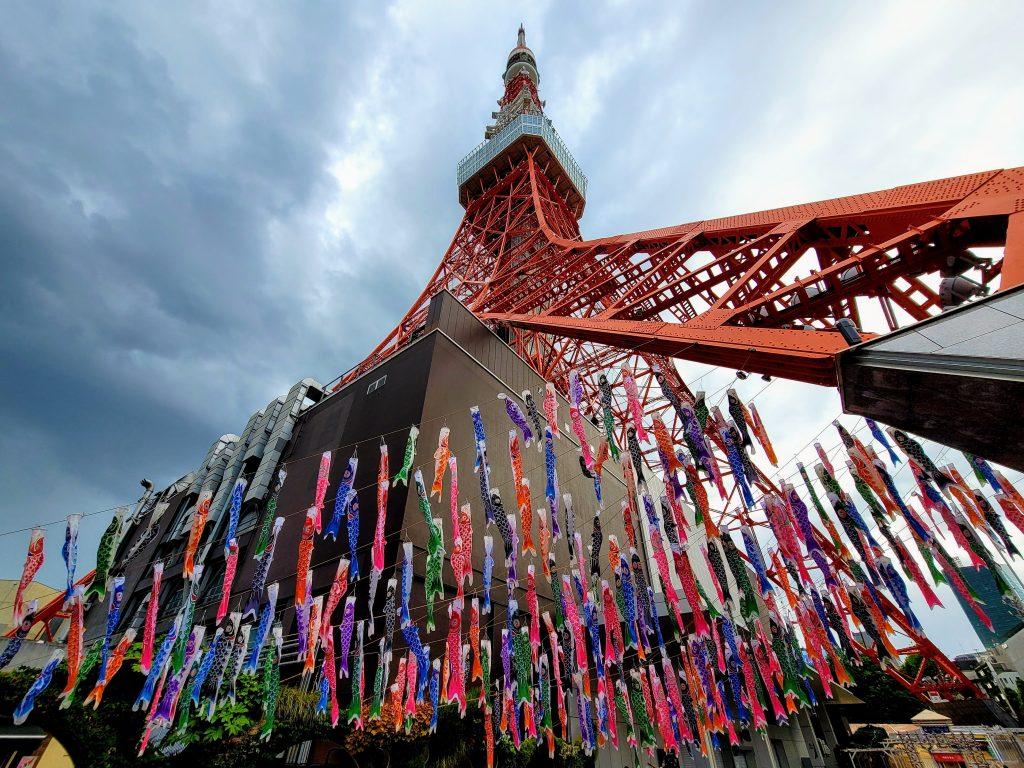Koinobori Carp Streamers at Tokyo Tower for Children's Day 2021