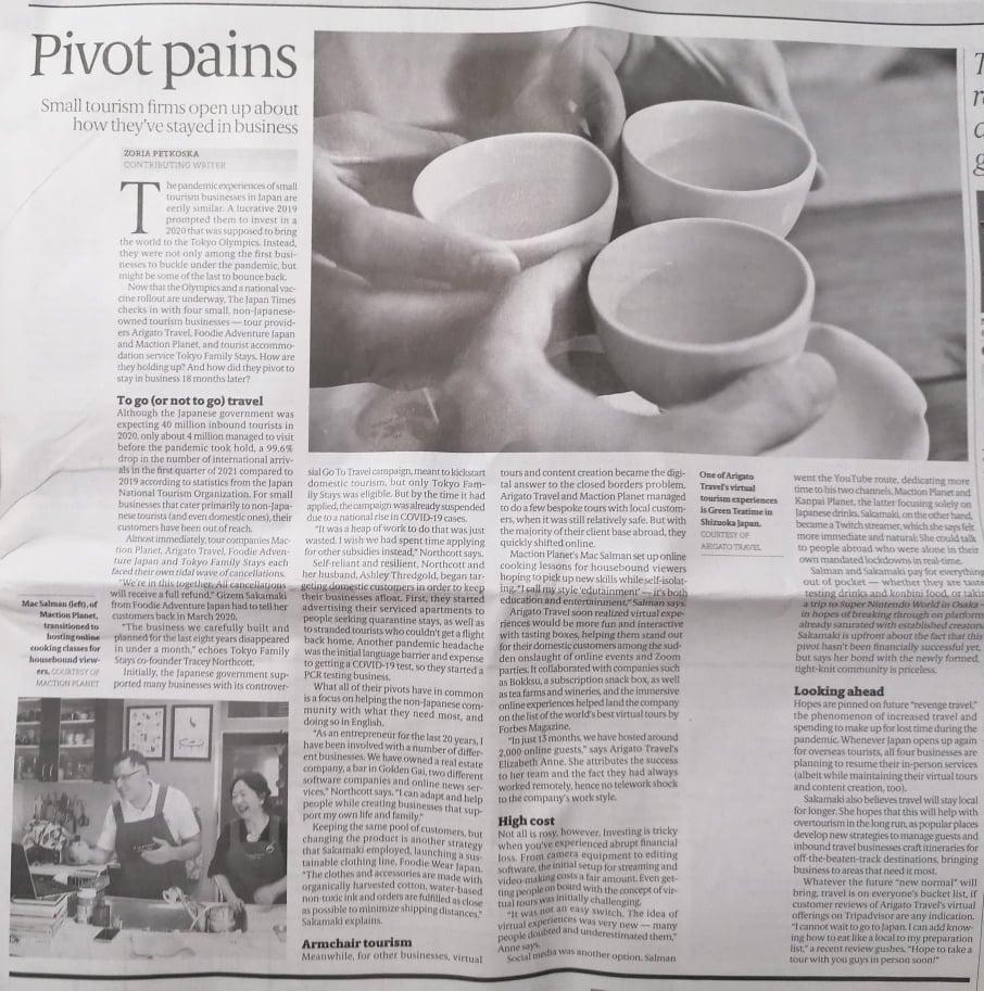 Persist, pivot, prosper? Japan Times article featuring Maction Planet Japan Bespoke Travel